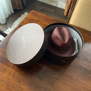 Gucci Straw Fedora and Leather Trilby Size L (59)